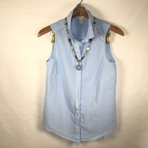 H&M Sleeveless collared Baby Blue Shirt Sz 6